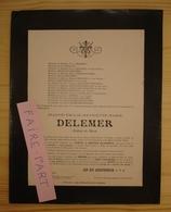 FAIRE-PART DECES 1904 DELEMER LENGLART TERNYNCK TREZE BOCQUET TRIPIER Lille - Décès