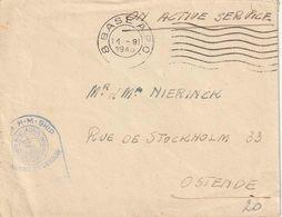 """BELG. MILIT. POST  1945 : Bf """"OAS""""  Met Mechanische """"8 BASE A.P.O / 14.8.45""""  Naar OOSTENDE MET BLAUWE CENSUUR - Marcophilie"""