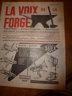 1959 LA VOIX DE LA FORGE---> Soudure A L'arc Des Aciers Inox Et Réfractaires Avec électrodes Fusibles;etc - Bricolage / Technique