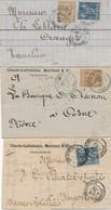 """CG-109: FRANCE: Lot """"SAGE"""" 3 Lettres Avec Timbres Perforées CA - Marcophilie (Lettres)"""