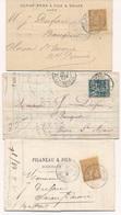 """CG-110: FRANCE: Lot """"SAGE"""" 3 Lettres Avec Timbres Perforées PF-FA-WC° - 1849-1876: Classic Period"""