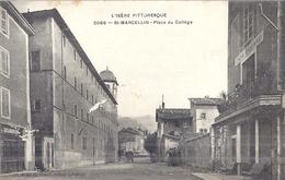 "SAINT MARCELLIN   2089   PLACE DU COLLEGE   CARTE ANIMEE 1909 ""CAFE ROZAND"" - Saint-Marcellin"