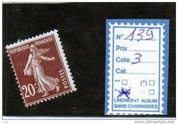 FRANCE A CHARNIERE * 139 - 1906-38 Semeuse Con Cameo