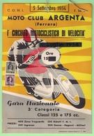 ARGENTA FERRARA MOTOCICLISMO LOCANDINA I° CIRCUITO MOTOCICLISTICO 1954 - Deportes