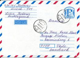 Belarus Postal Stationery Air Mail Cover Sent To Denmark 17-7-2002 - Belarus