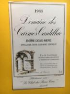 8978 - Domaine Des Carmes Cantillac 1983 Entre-deux-Mers - Bordeaux