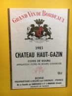 8985 -  Château Haut-Gazin 1983 Cotes De Bourg - Bordeaux