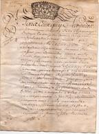 Acte Notarial Manuscrit Sur Parchemin Cachet Généralité Orléans 13 Sols 4 Denier Vouzon Loir Et Cher 4 Pages 1718 - Cachets Généralité