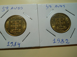 Portugal Macau 2 Coins 50 Avos 1982 And 1984 BU - Portugal