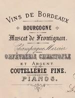 Facture Double 1889 / Justin PETIT / 60 Rue Du Château D'Eau / Vins, Champagne, Orfevrerie Christofle, Pianos / 75 Paris - France