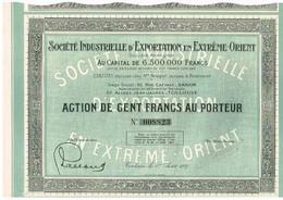 Ancienne Action - Société Industrielle D'Exportation En Extrême Orient - Titre De 1927 - N°008823 - Asie