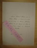 FAIRE-PART MARIAGE 1884 ALEXIS # CASTELLAN Aix-en-Provence - Mariage