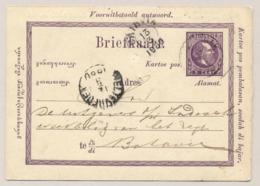 Nederlands Indië - 1880 - 5 Cent Antwoord-Briefkaart Van KR PONTIANAK Naar Batavia - Nederlands-Indië