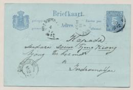 Nederlands Indië - 1892 - 5 Cent Briefkaart Met Rondstempel WONOSOBO Naar Indramajoe - Nederlands-Indië