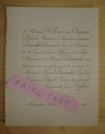 FAIRE-PART MARIAGE 1889 DUMOULIN # RIFFARD CLAPPIER-DELISLE Montpellier Roanne - Mariage