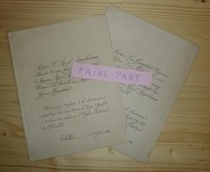 FAIRE-PART MARIAGE 1889 MARCHESSEAU # GAUCHARD La Rochelle Salles La Jarrie - Mariage