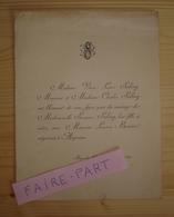 FAIRE-PART MARIAGE 1894 BESNIER # SALING Bagnoles Argentan Orne - Mariage