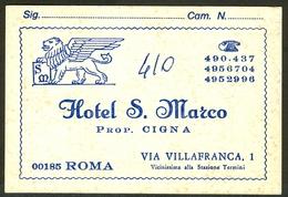 Old Tourist Carton Reclame Label HOTEL S. LEONE Prop. Cigna Roma Italy Italia With Map - Hotel Labels