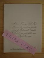 FAIRE-PART MARIAGE 1903 LACROIX # RICHARD RIBOLLET Lyon Rhône - Mariage