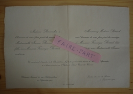 FAIRE-PART MARIAGE 1904 BERARD # BERNARDIN Issoire Clermont-Ferrand Auvergne - Mariage