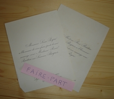 FAIRE-PART MARIAGE 1904 PEYRE # BARTIN Née BOGROS Lyon La Tour D'Auvergne - Mariage