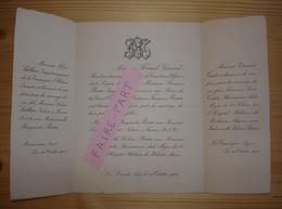 FAIRE-PART MARIAGE 1904 SABLIER # BEAU & COMTE # BEAU Aumessas Levade Canourgue - Mariage