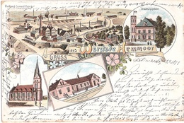 Gruss Aus WARSTADE HEMMOOR Color Litho Bahnhof Zement Fabrik Verwaltung Gelaufen 8.9.1899 - Cuxhaven