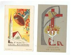JM29.10 /  2 IMAGES RELIGIEUSES- VERSO  IMPRIME ( Consécration De Cloches ) - Devotieprenten