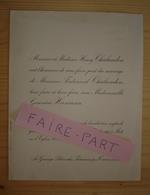 FAIRE-PART MARIAGE 1913 CHALANDON # HUMANN Parcieux Trévoux Ain Chaillot Paris - Mariage