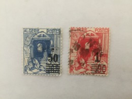 Pair Of Algeria Stamps:1926  Overstruck  Surcharged - Timbres