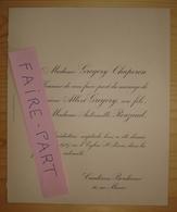 FAIRE-PART MARIAGE 1927 GREGORY # ROUZAUD CHAPERON Cauderan Bordeaux Gironde - Mariage