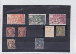 LOTE X 8 MIXED STAMPS POUPURRI FRANCE, SPAIN, MADAGASCAR, CALEDONIE. SOLD AS IS- BLEUP - Philately & Coins