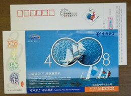 Sailing Ship,sailing Yacht,Sailboat Racing,China 2005 Fujian Telecom Customers Hotline Advertising Pre-stamped Card - Voile