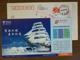 Maritime Navigation Era Sailing Gun Ship,China 2007 Qunzhou Telecom Customers Hotline Advertising Pre-stamped Card - Maritime