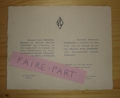 FAIRE-PART MARIAGE 1930 LEHMANS # VIDALOT Ste-Marie La Bastide Bordeaux Gironde - Mariage