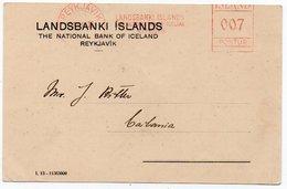 ICELAND - THE LANDSBANKI ISLANDS/NATIONAL BANK OF ICELAND 1936 - RED METER / EMA - Vignettes D'affranchissement (Frama)