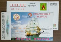Maritime Navigation Era Sailing Ship,China 2000 PICC Property Insurance Company Congren Branch Pre-stamped Card - Maritime
