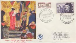 Enveloppe  FDC  1er  Jour   FRANCE   Jacques  COEUR    BOURGES   1955 - FDC