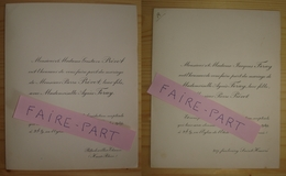 FAIRE-PART MARIAGE 1949 PREVOT # FERAY Paris Bitschwiller-Thann Haut-Rhin - Mariage