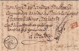 Paris To Corfù, Posta In Transito Da Trieste. Lettera Con Contenuto 1858 - 1849-1876: Période Classique