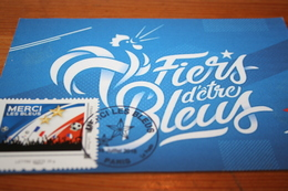"""CPM Carte Maximum  CM """"Merci Les Bleus"""" Coupe Du Monde 2018 Russie Seconde Etoile FRANCE """"Fiers D'être Bleus"""" Paris - Football"""