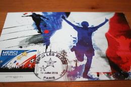 """CPM Carte Maximum  CM """"Merci Les Bleus"""" Coupe Du Monde 2018 Russie Seconde Etoile FRANCE Paris - Football"""
