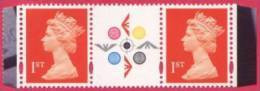 1999 GB Machin Strip With Label At Centre - SG 1667 UM/ MNH ( Printed In Photogravure ) - 1952-.... (Elizabeth II)