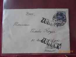 Lettre Allemande De Strasbourg De 1914 Pour Beziers Avec Surcharge ZURUCK - Germany