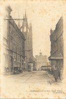 Illustration (Gravure Signée) - Cathédral & Castle From Groat Market Newcastle - Carte Dos Simple Non Circulée - Newcastle-upon-Tyne