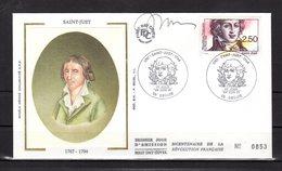 """"""" SAINT-JUST """" SIGNEE Sur Enveloppe 1er Jour De 1991 (par JUBERT) N°YT 2703 Parfait état - French Revolution"""
