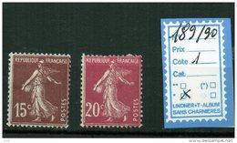 FRANCE  à CHARNIÈRE *  189/90 - 1906-38 Semeuse Con Cameo