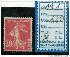 FRANCE A CHARNIERE * 191 - 1906-38 Semeuse Con Cameo