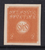 Croatia SHS, Seamen, 2 Fil. Newspapers Stamp, Proof, Imperforated, Double Printing On Thicker  Paper - Nuovi