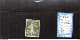 FRANCE à CHARNIERE - 193 - 1906-38 Semeuse Con Cameo